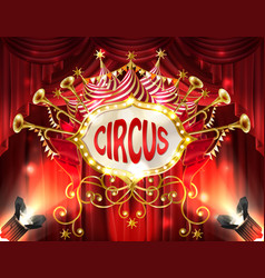 Banner with circus signboard and curtains vector