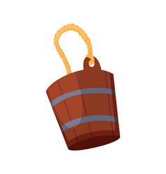 bath house sauna wooden water bucket icon item vector image