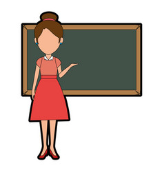 Beautiful teacher female with chalkboard avatar vector