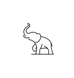 Big animal elephant lifting trunk up line symbol vector