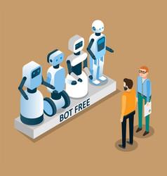 bot free concept isometric vector image