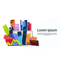 box with office stuff digrams and charts with vector image