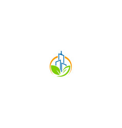 building cityscape eco green leaf logo vector image
