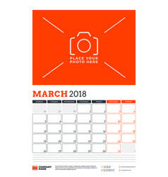Calendar planner template for 2018 year march vector