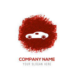 Car icon - red watercolor circle splash vector