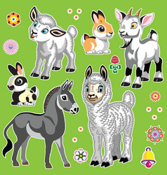 cartoon farm animals on green set three vector image