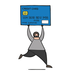 cartoon thief hacker man with face masked running vector image
