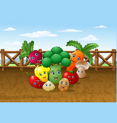 cartoon vegetable garden farm background vector image