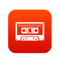 cassette tape icon digital red vector image