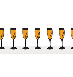 champagne flutes in a row seamless border vector image