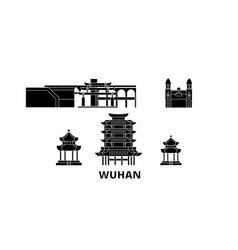 China wuhan flat travel skyline set china wuhan vector