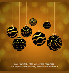 Chrismtas card with balls and typographic vector