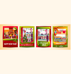 Christmas sale new year cards templates vector