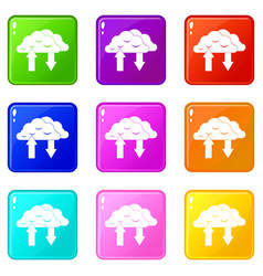 Clouds with arrows icons 9 set vector