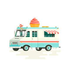 Colorful flat ice cream truck isolated on vector