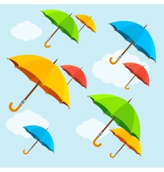 colorful umbrellas fly with clouds Flat vector image