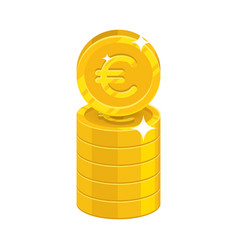 column gold euro isolated cartoon icon vector image