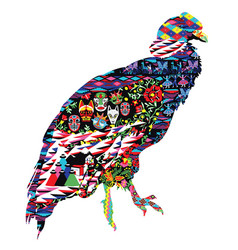 Condor bird with patterns vector