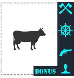 Cow icon flat vector