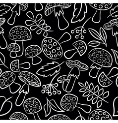 Cute amanita seamless pattern with leaf and berrie vector