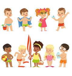 Cute kid toons on the beach seaside vector