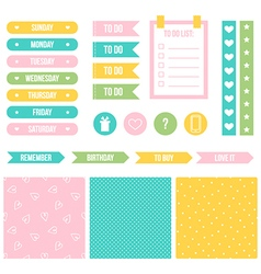 Cute printable stickers for planner organizer vector