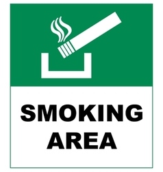 Designated smoking area sign isolated on white vector image