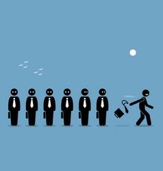 Employee quiting his job throwing away vector