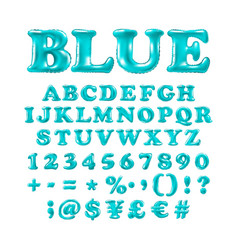 english alphabet and numerals from blue balloons vector image vector image