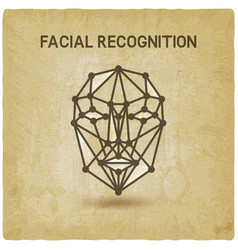 facial recognition system 3d face vintage vector image