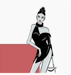 fashion girl in a short black dress vector image