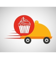 fast delivery food cup cake dessert vector image