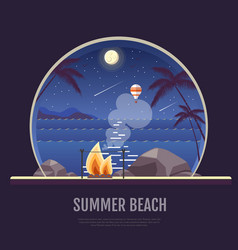 flat style design of summer beach landscape vector image