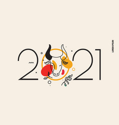for new year with a drawn bull vector image