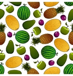Fresh fruits seamless pattern for food design vector image