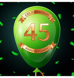 Green balloon with golden inscription forty five vector image