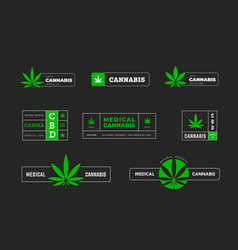 Green stickers with indica and sativa graphic vector