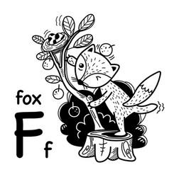 Hand drawnalphabet letter f-fox vector