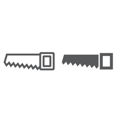 hand saw line and glyph icon tool and repair vector image