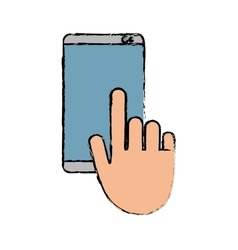 Hand touch mobile phone chat talk sketch vector