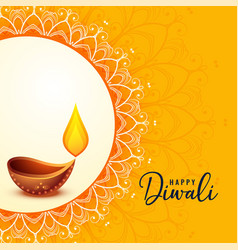 Happy diwali greeting banner beautiful design vector