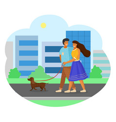 Happy family walking a dog girl holds dog leash vector
