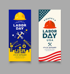happy labor day engineer cap with wrench hammer vector image
