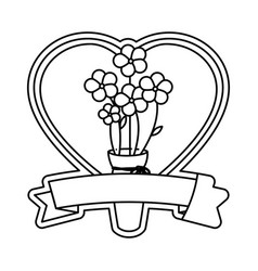 Heart and flowers design vector