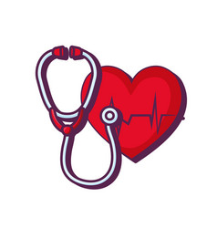 Heart cardiology with stethoscope vector