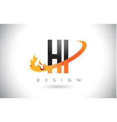 Hi h i letter logo with fire flames design and vector