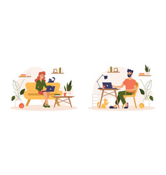 home work freelance people working at home office vector image