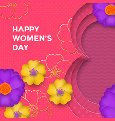 international womens day paper cut with gold vector image