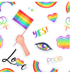 lgbt logo symbols stickers seamless pattern flags vector image