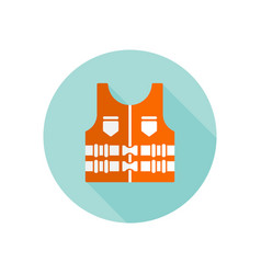 life jacket isolated round flat icon vector image